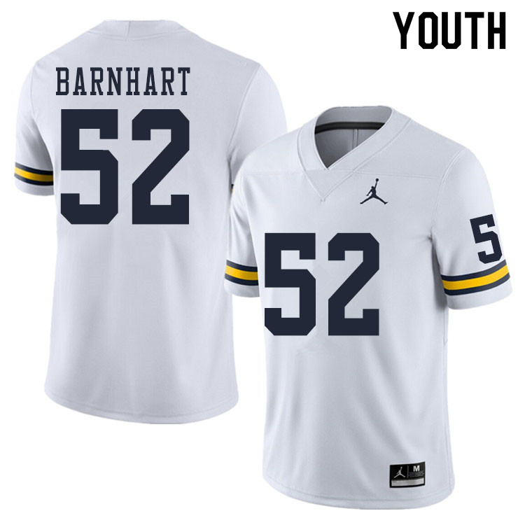Youth #52 Karsen Barnhart Michigan Wolverines College Football Jerseys Sale-White