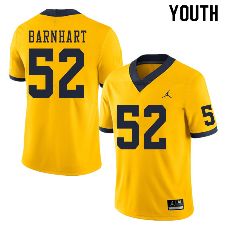 Youth #52 Karsen Barnhart Michigan Wolverines College Football Jerseys Sale-Yellow