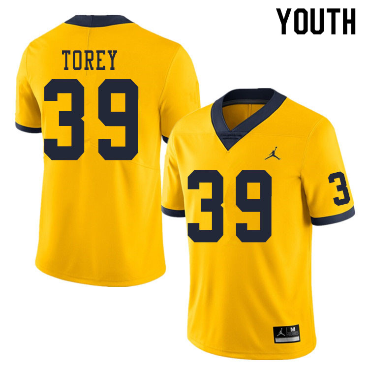 Youth #39 Matt Torey Michigan Wolverines College Football Jerseys Sale-Yellow