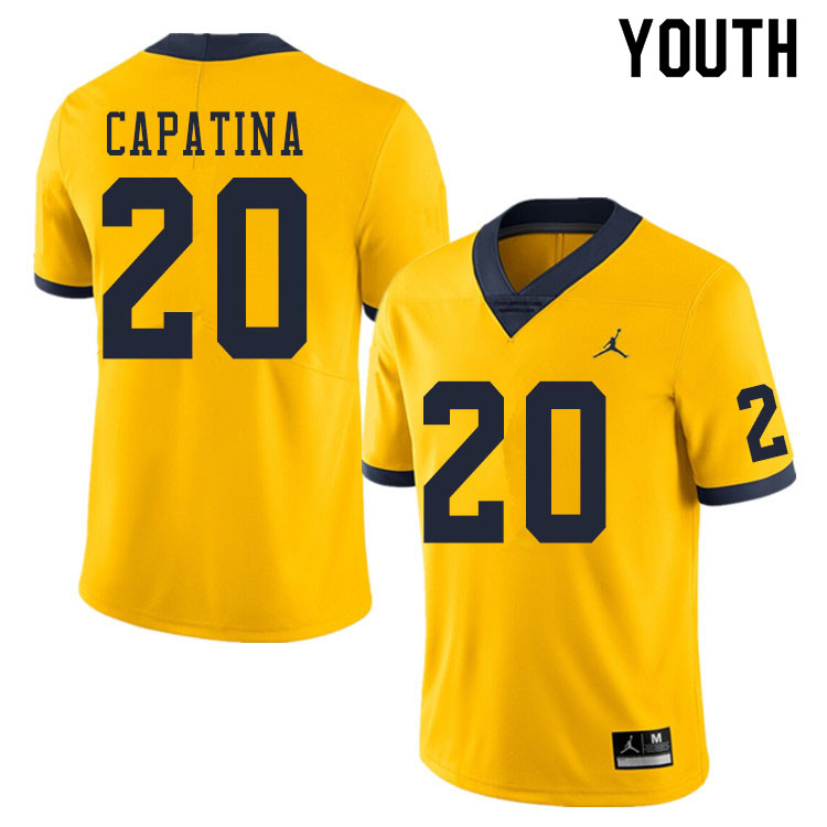 Youth #20 Nicholas Capatina Michigan Wolverines College Football Jerseys Sale-Yellow