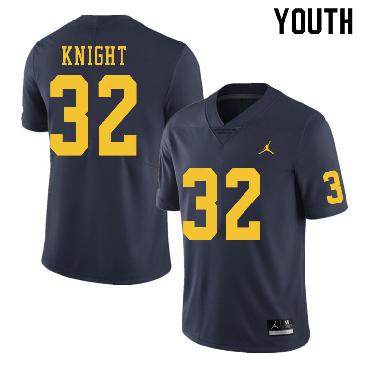 Youth #32 Nolan Knight Michigan Wolverines College Football Jerseys Sale-Navy