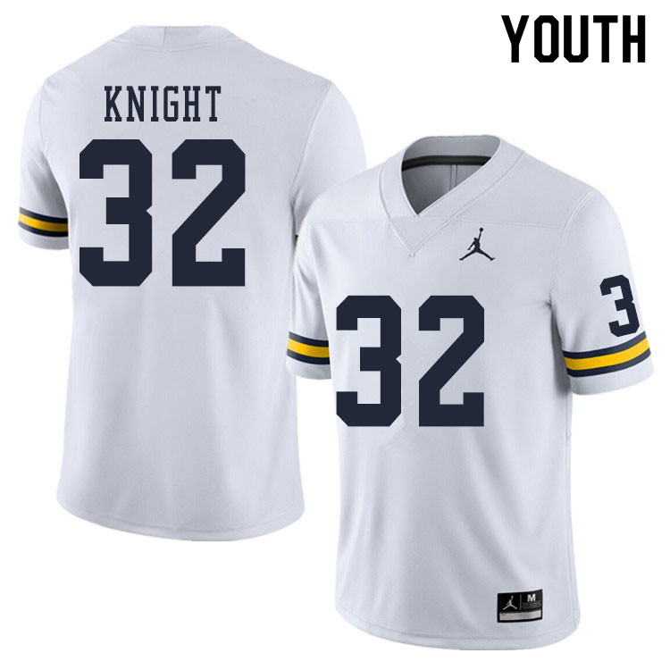 Youth #32 Nolan Knight Michigan Wolverines College Football Jerseys Sale-White