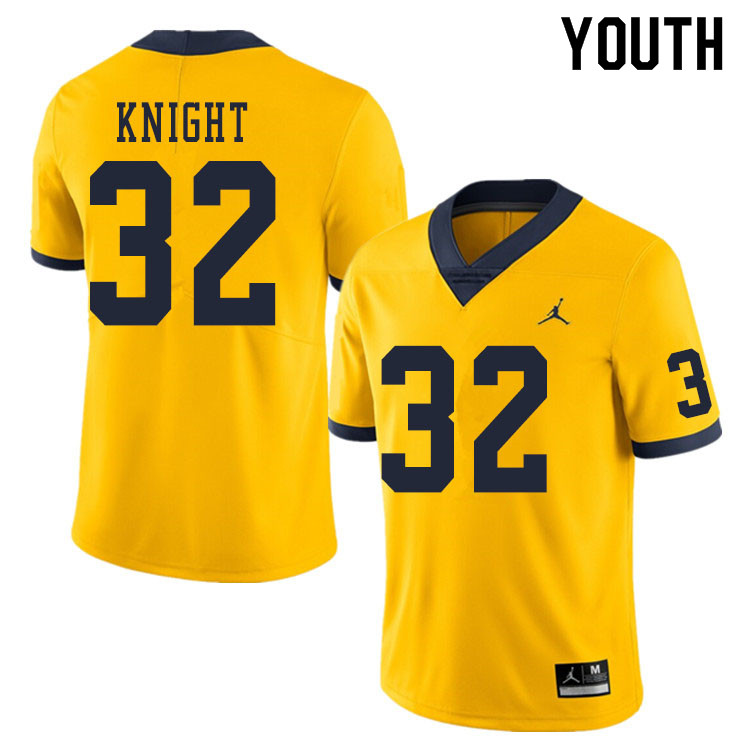 Youth #32 Nolan Knight Michigan Wolverines College Football Jerseys Sale-Yellow