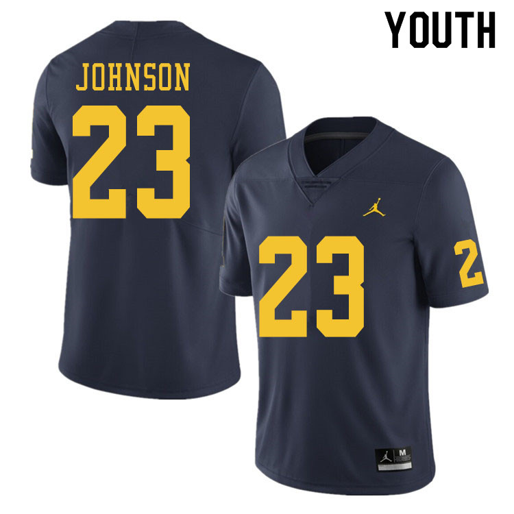 Youth #23 Quinten Johnson Michigan Wolverines College Football Jerseys Sale-Navy