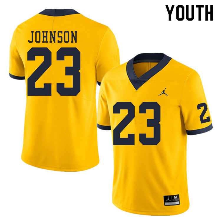 Youth #23 Quinten Johnson Michigan Wolverines College Football Jerseys Sale-Yellow