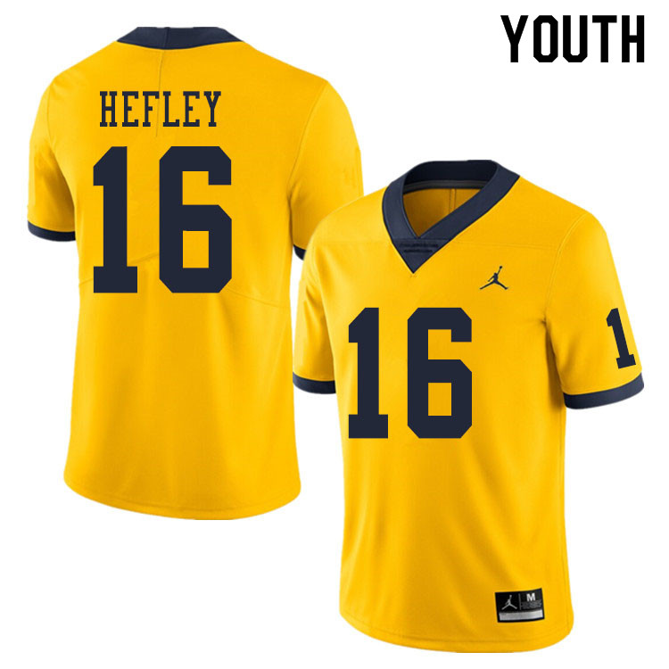Youth #16 Ren Hefley Michigan Wolverines College Football Jerseys Sale-Yellow