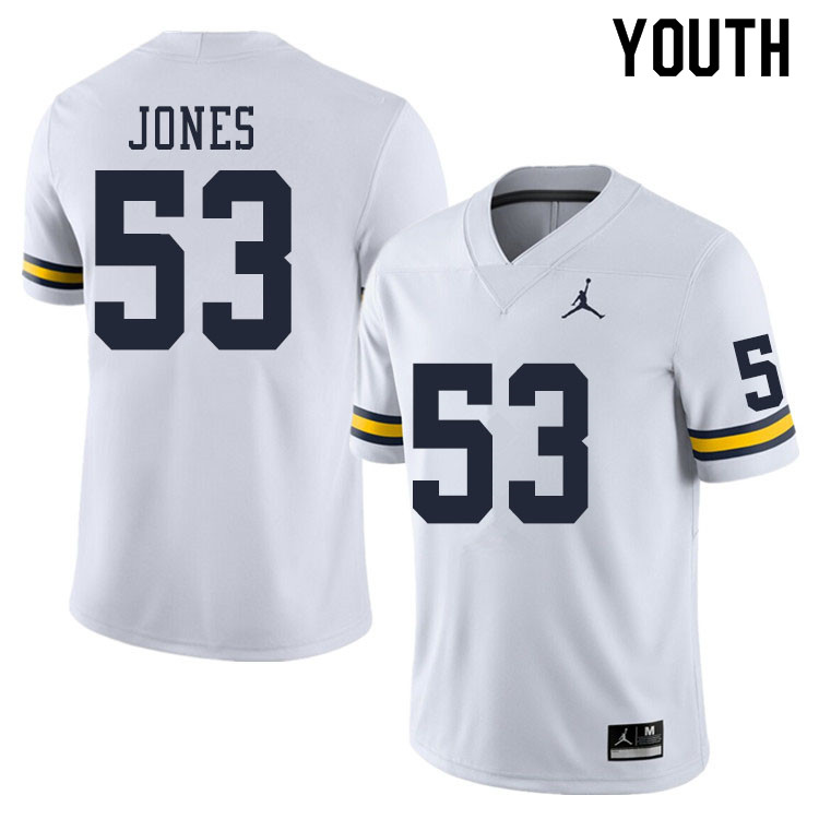 Youth #53 Trente Jones Michigan Wolverines College Football Jerseys Sale-White