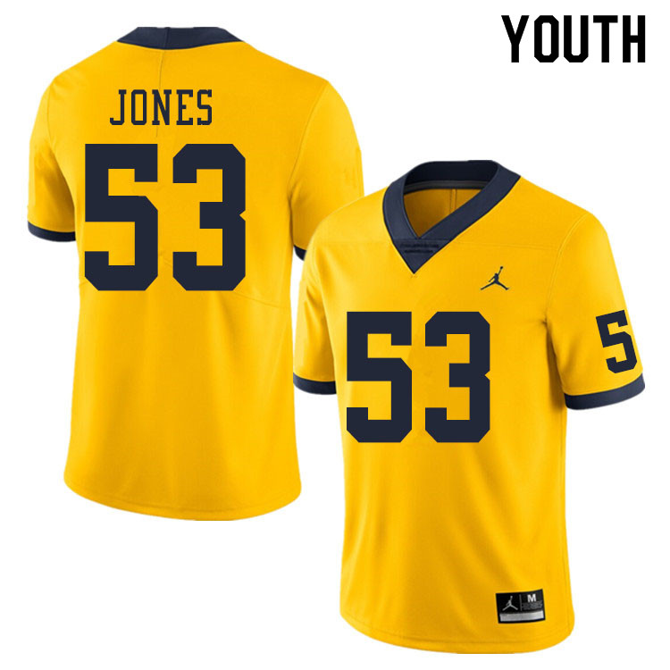 Youth #53 Trente Jones Michigan Wolverines College Football Jerseys Sale-Yellow