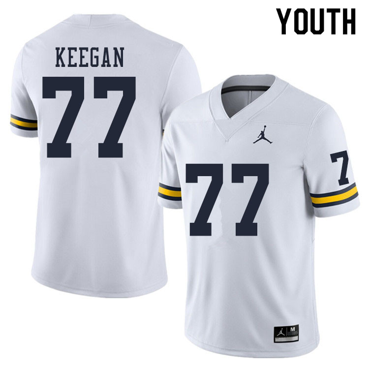 Youth #77 Trevor Keegan Michigan Wolverines College Football Jerseys Sale-White