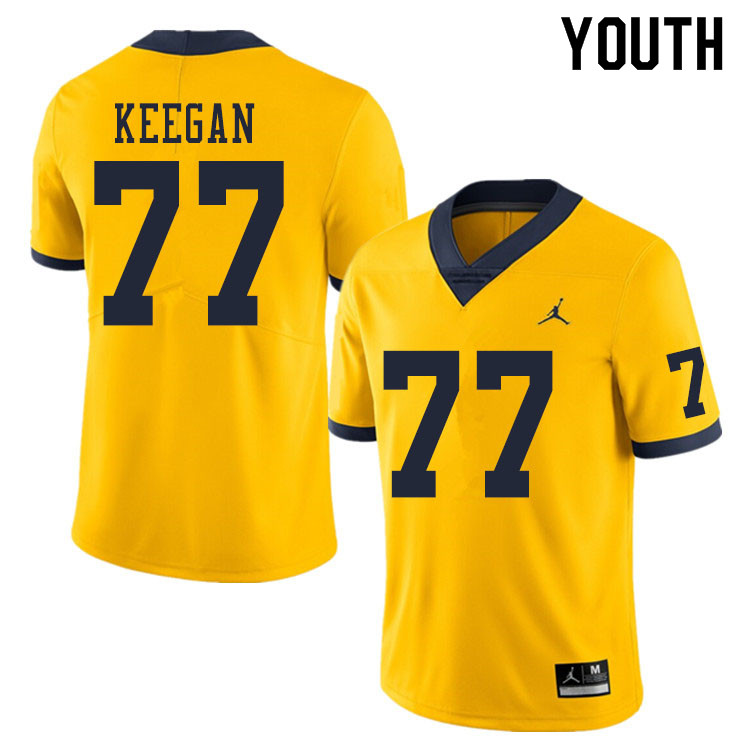 Youth #77 Trevor Keegan Michigan Wolverines College Football Jerseys Sale-Yellow