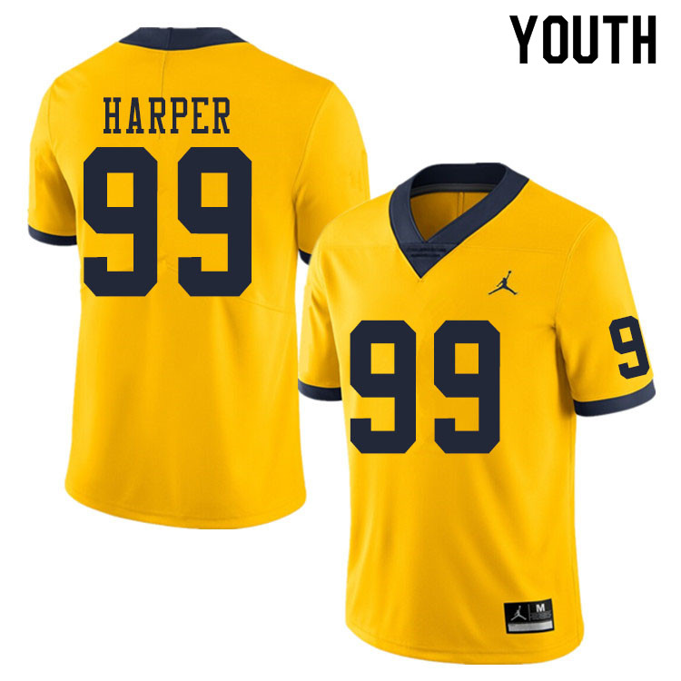 Youth #99 Trey Harper Michigan Wolverines College Football Jerseys Sale-Yellow