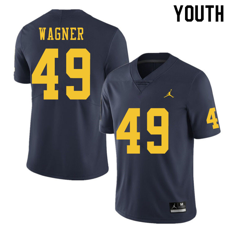 Youth #49 William Wagner Michigan Wolverines College Football Jerseys Sale-Navy