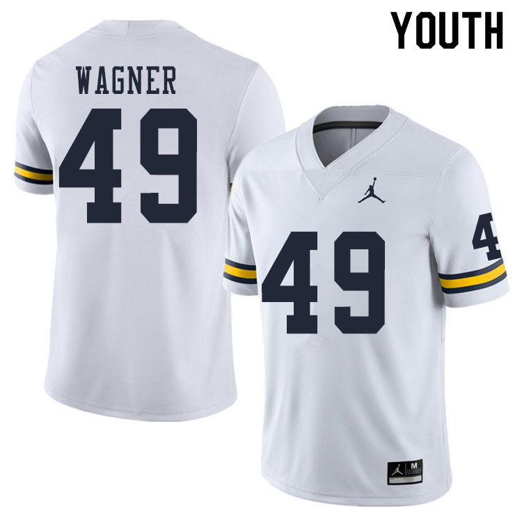 Youth #49 William Wagner Michigan Wolverines College Football Jerseys Sale-White