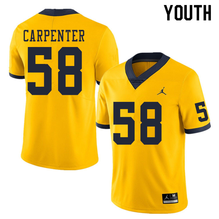 Youth #58 Zach Carpenter Michigan Wolverines College Football Jerseys Sale-Yellow