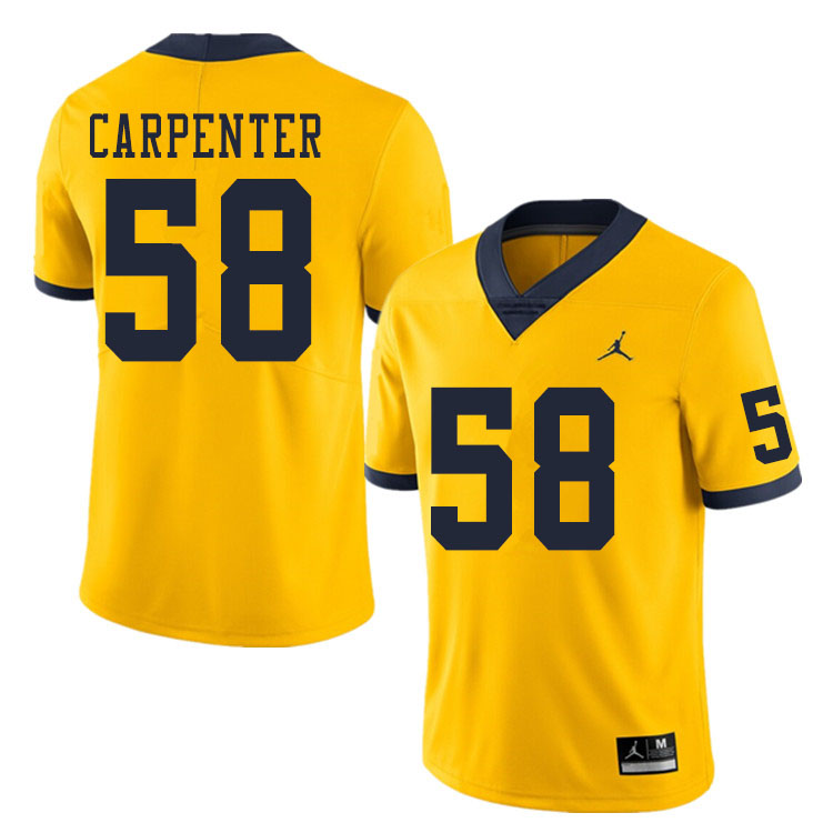 Men #58 Zach Carpenter Michigan Wolverines College Football Jerseys Sale-Yellow