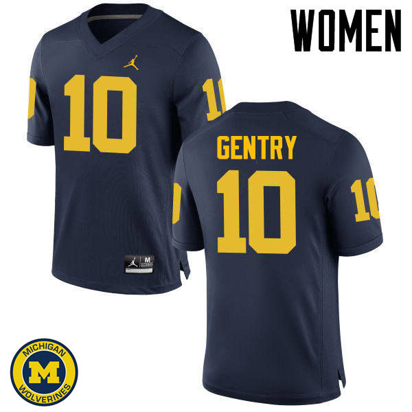 Women Michigan Wolverines #10 Zach Gentry College Football Jerseys Sale-Navy